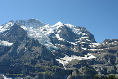 Snow capped peaks on the route to Jungfrau