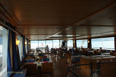 The cafe of the cruise ship on Lake Thun