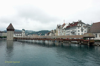View of Chapel Bridge from the main road bridge in Lucerne