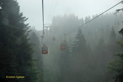 Panoramic Gondolas make the journey between Lucerne and Kriens, on the way to Mount Pilatus