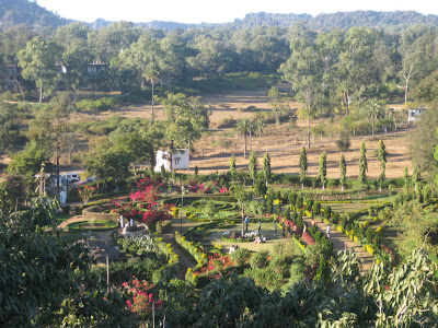 View of the garden at the base of the Pandav Caves in Pachmarhi
