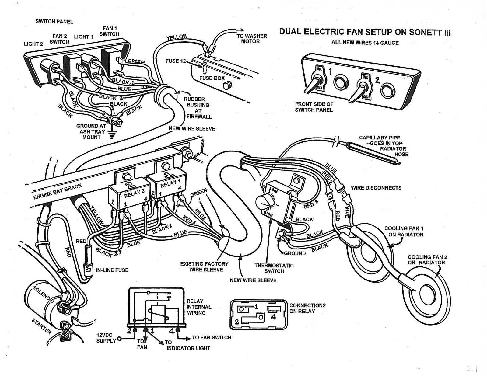 medium resolution of this is the wiring layout for the dual fan set up the thermostatic switch will saab