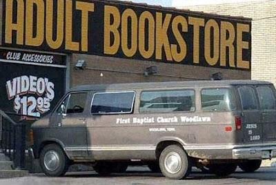 church van at adult bookstore