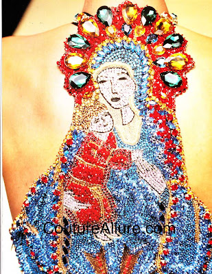 gianni versace, beaded top 1991, Mary and Baby Jesus