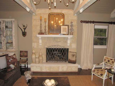 Shabby Chic Brick Fireplace - Interior Decorating Las Vegas