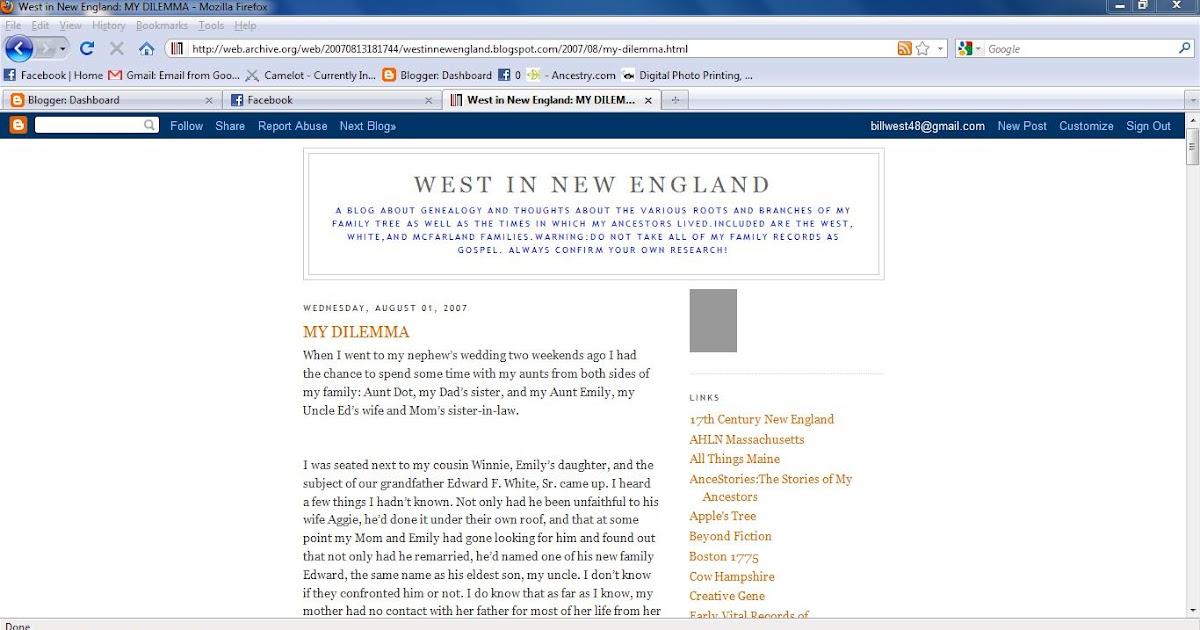 West In New England Saturday Night Genealogy Fun The Wayback Machine
