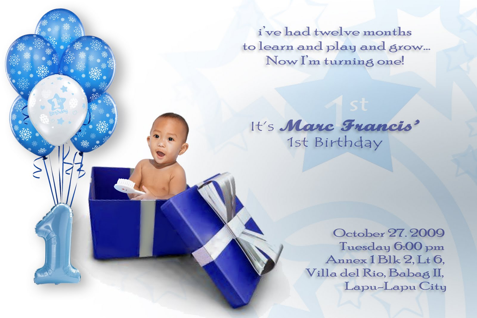 boronganon: Invitation Card on Marc's 1st birthday