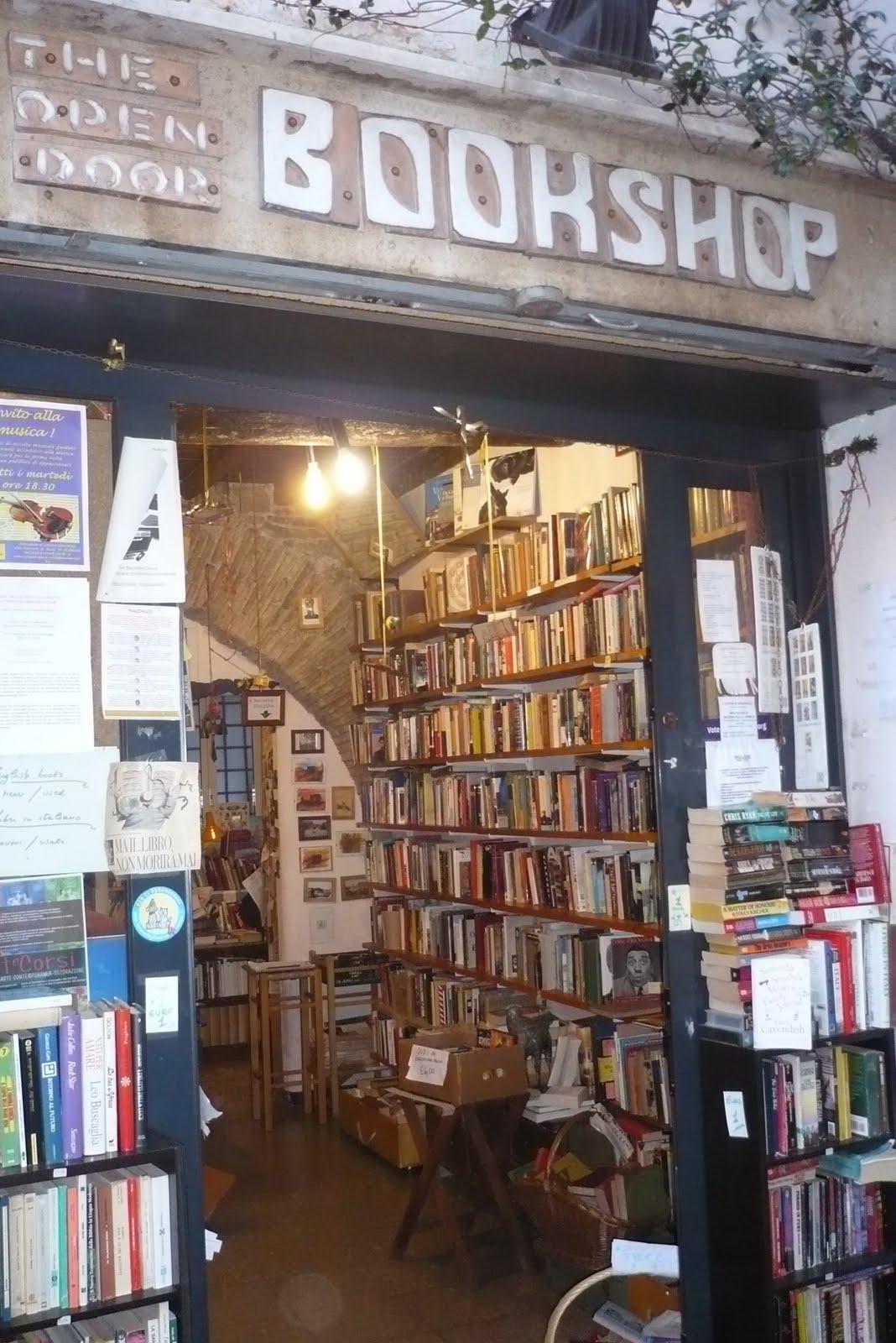 bookstore rome bookshop door open english guide books