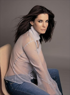 Ladies in Satin Blouses: sandra bullock - light blue silk ...