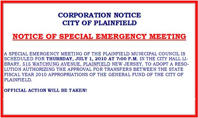 Plainfield Today What Is A Special Emergency Council