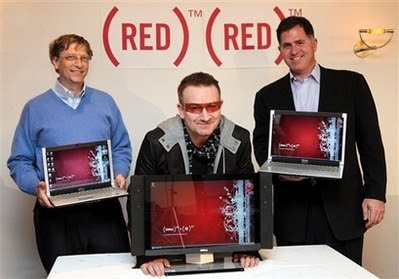 Bono, Bill Gates y Michael Dell: Ordenador RED