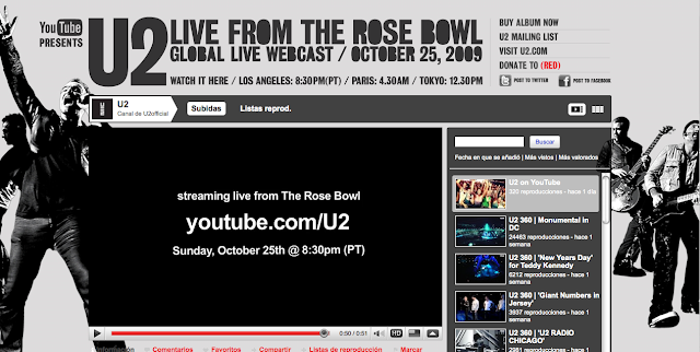 U2 retransmite en directo por Youtube su concierto de U2 360 Tour en Pasadena