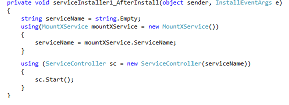 Code to start windows service after installation