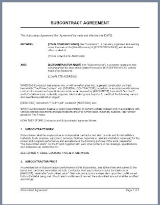 Free Sample Subcontractor Agreement