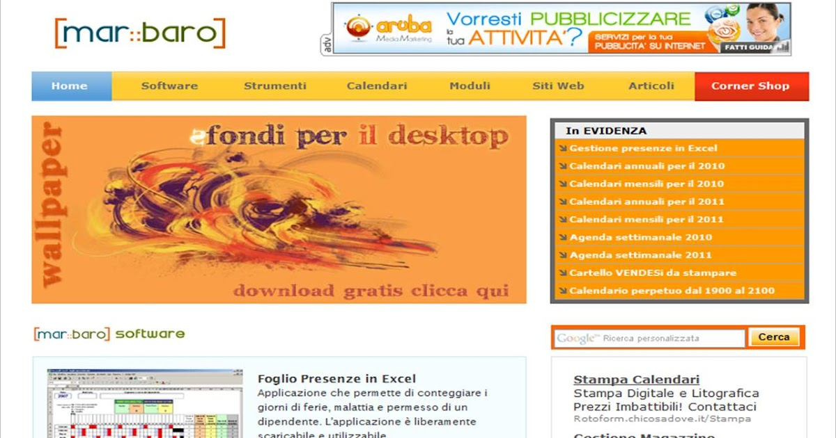 Calendario Marbaro.Didalgo Marbaro Moduli Calendari Software Di Tutto Un Po