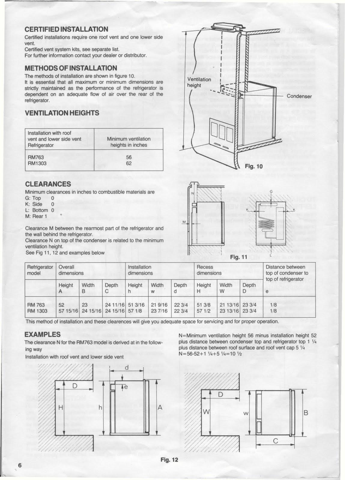 1983 fleetwood pace arrow owners manuals  dometic refridgerator rm