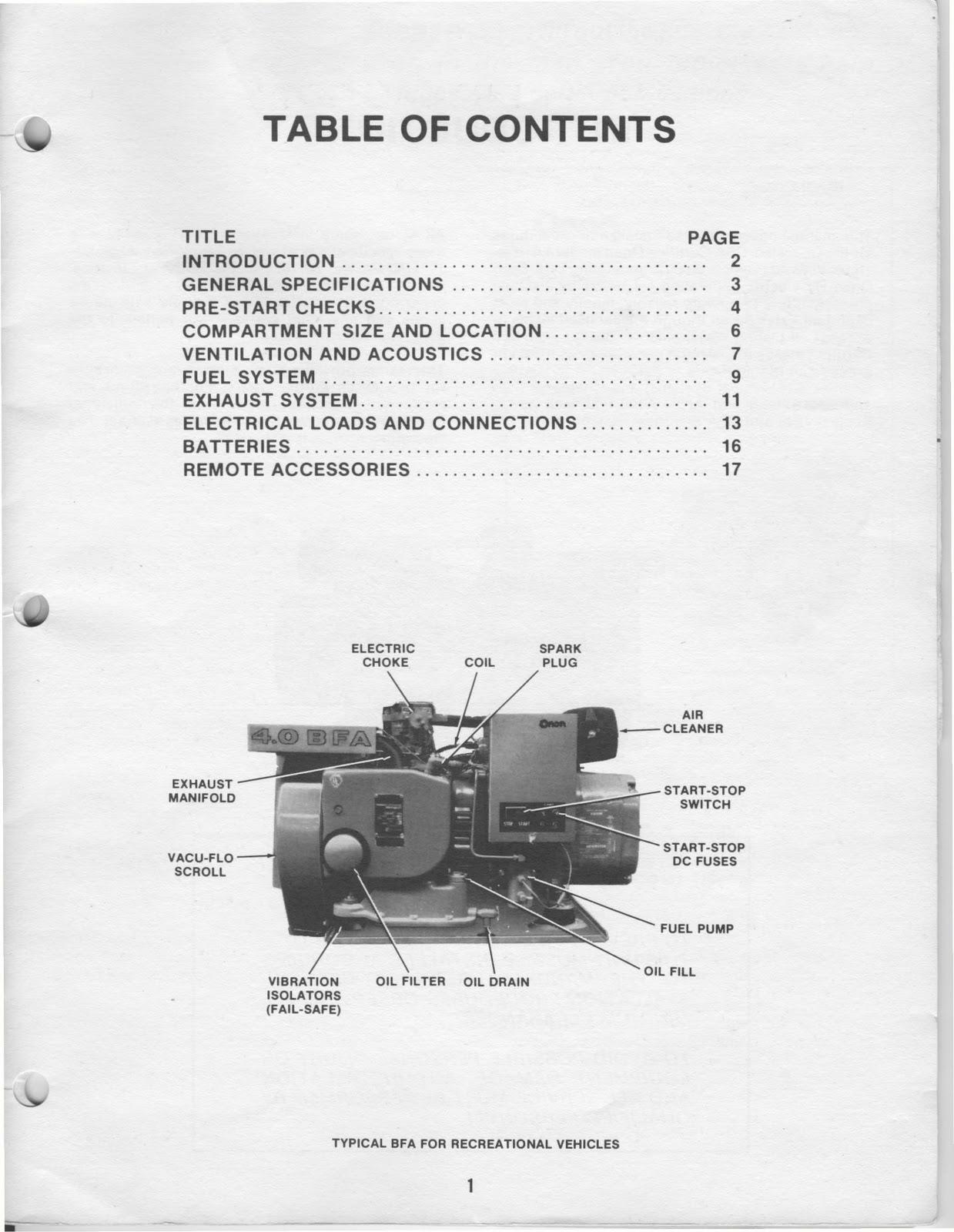 1983 Fleetwood Pace Arrow Owners Manuals: ONAN 40 KW BFA Genset Spec 16004 series installation
