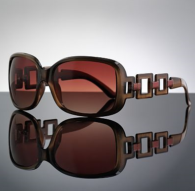 db33972c0fb08 ELLE™ Square-Link Sunglasses. Burgandy  Black  Bronze