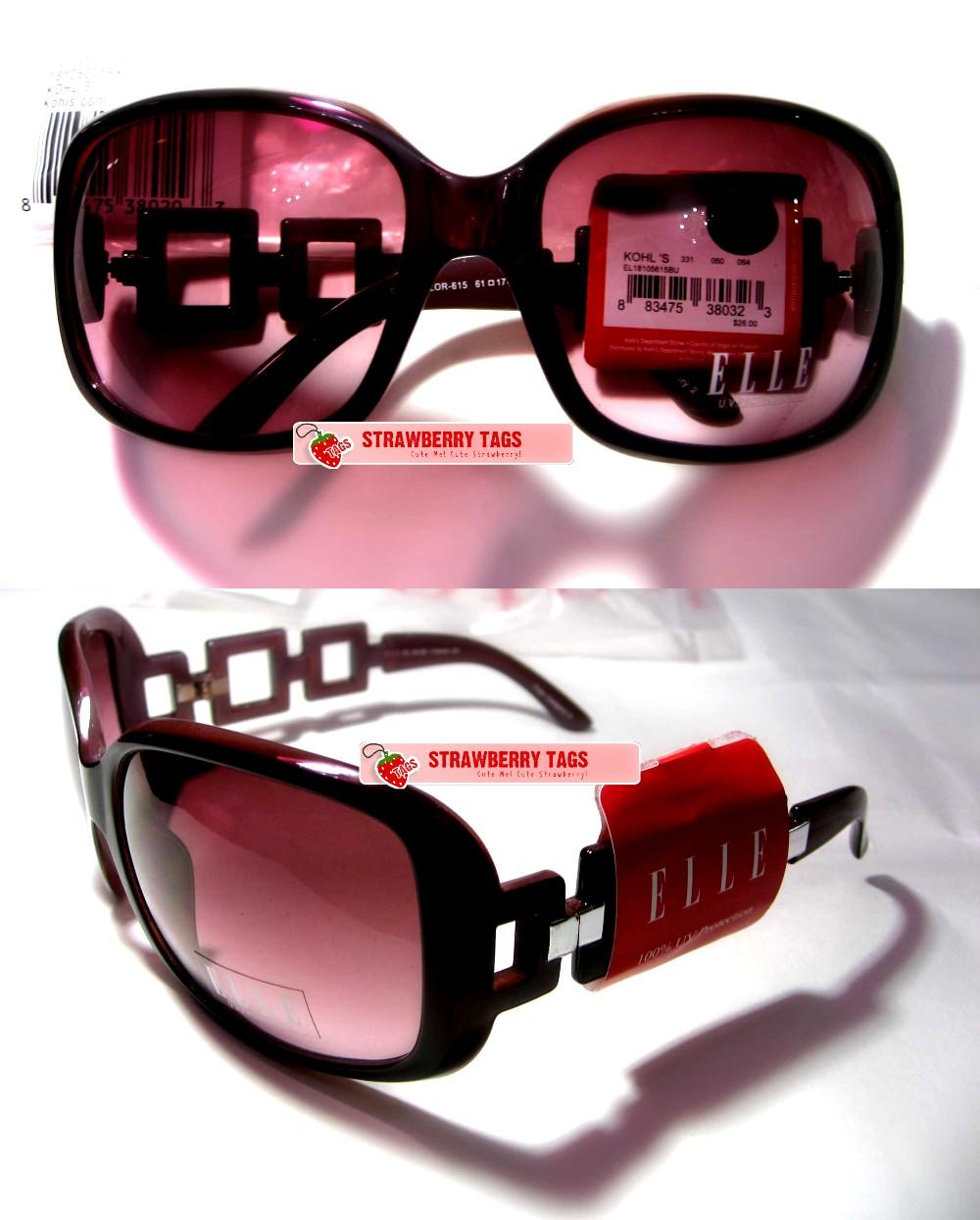 77b8173fe17eb StrawBerry TaGs~  ELLE™ Square-Link Sunglasses (in Burgandy)