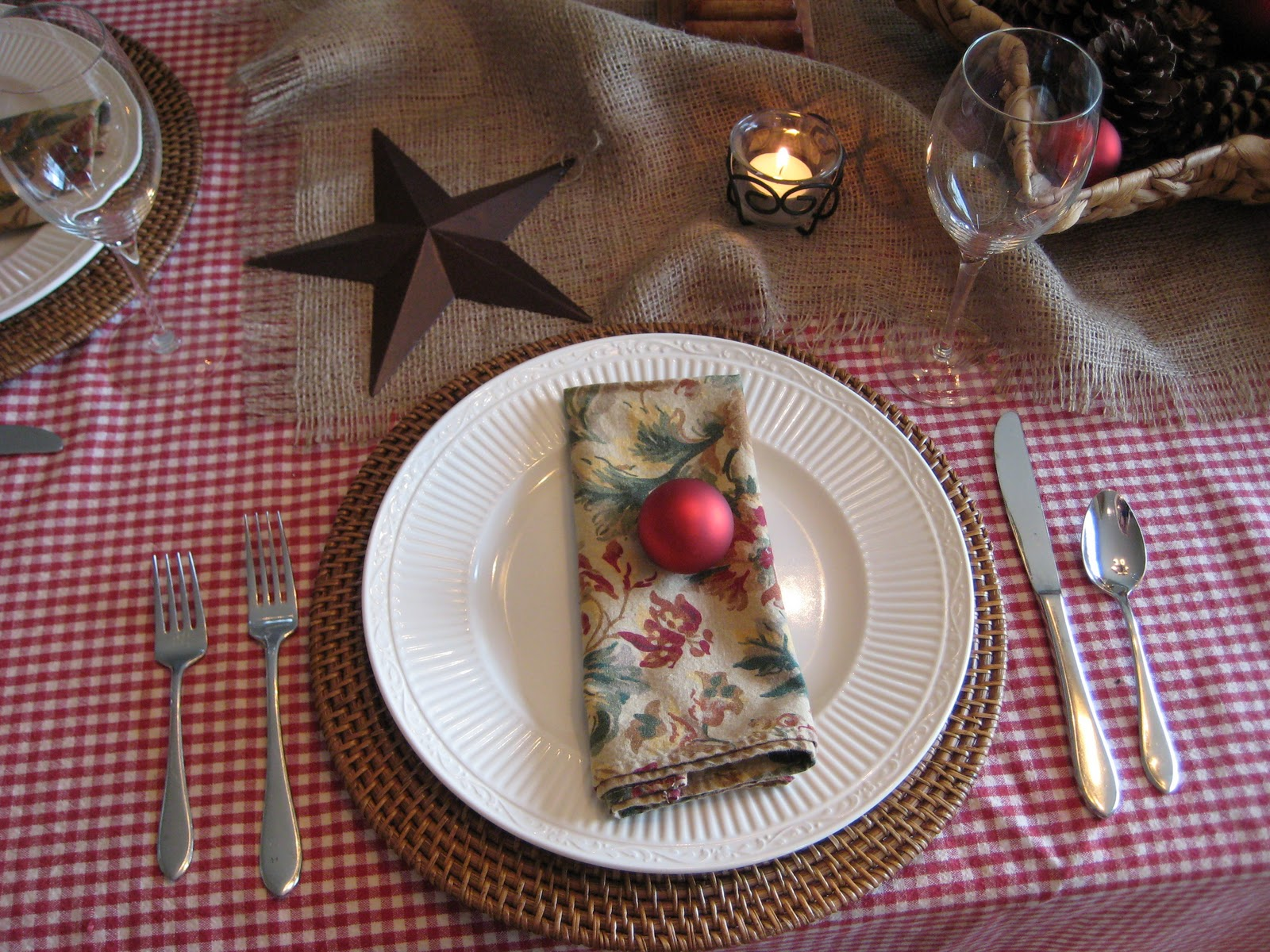 Christmas Table with Red Checks