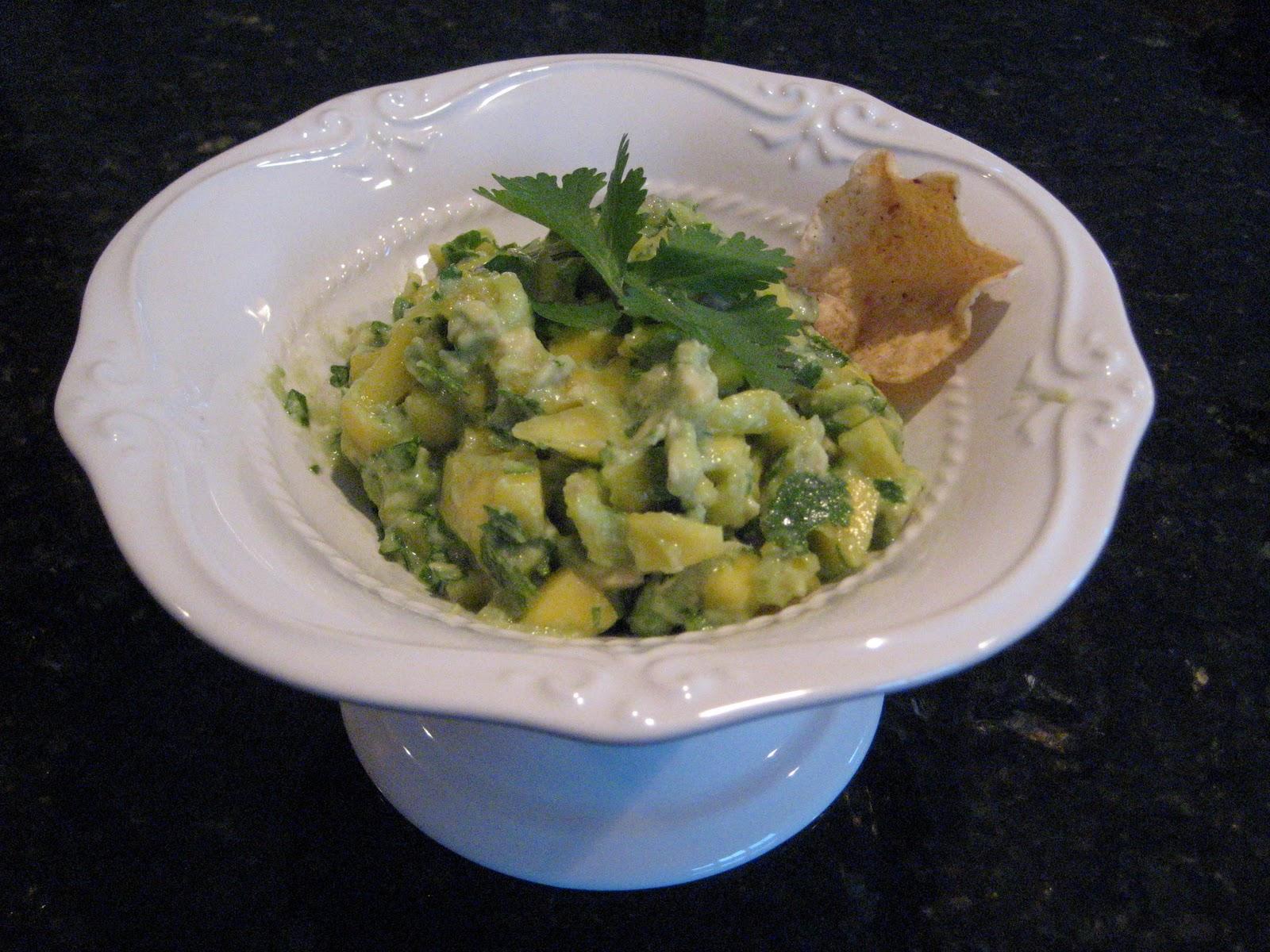 Guacamole in white bowl - Recipe for Mango Avocado Salsa
