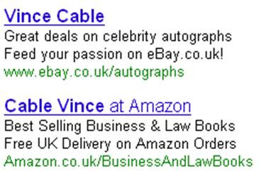 Vince Cable Ebay Amazon ads