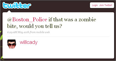 Twitter Boston Police Zombie bite