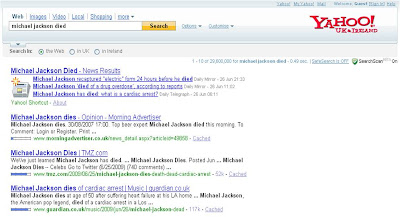 Yahoo Michael Jackson Died results