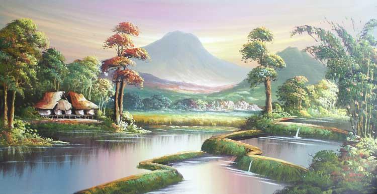 Lukisan Pemandangan Alam  Desa Koleksi Gambar HD