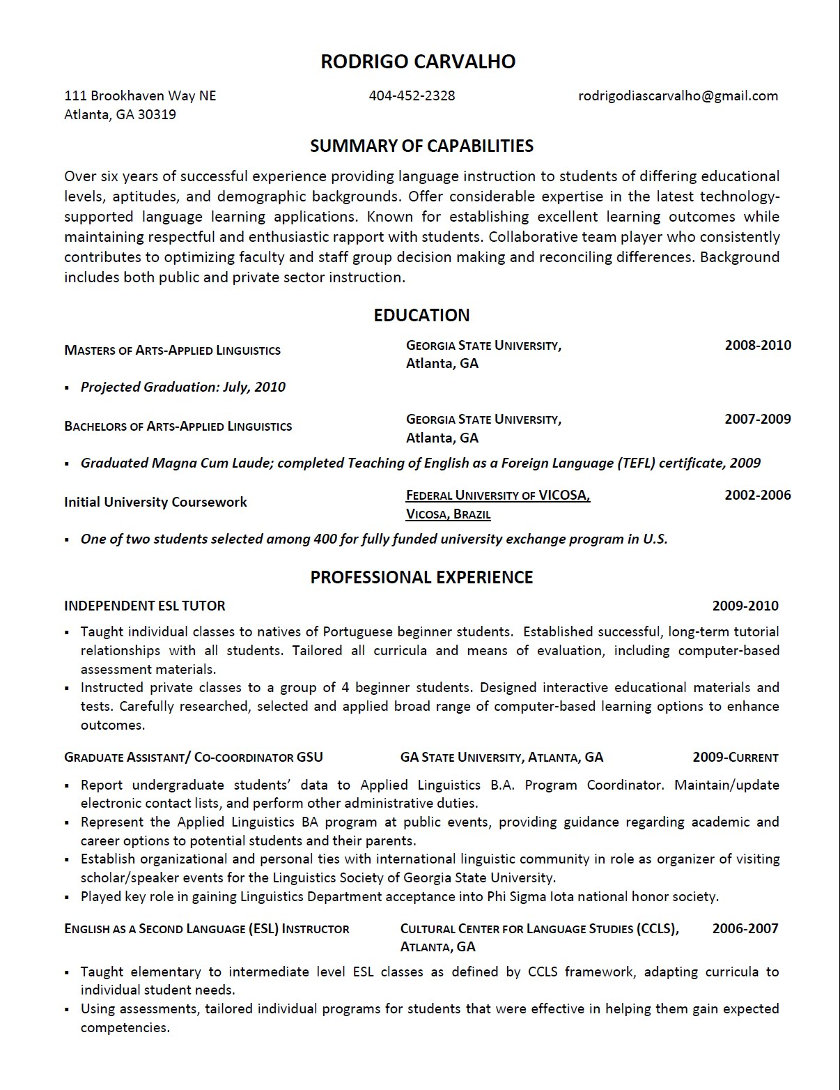 sample resume for english teacher