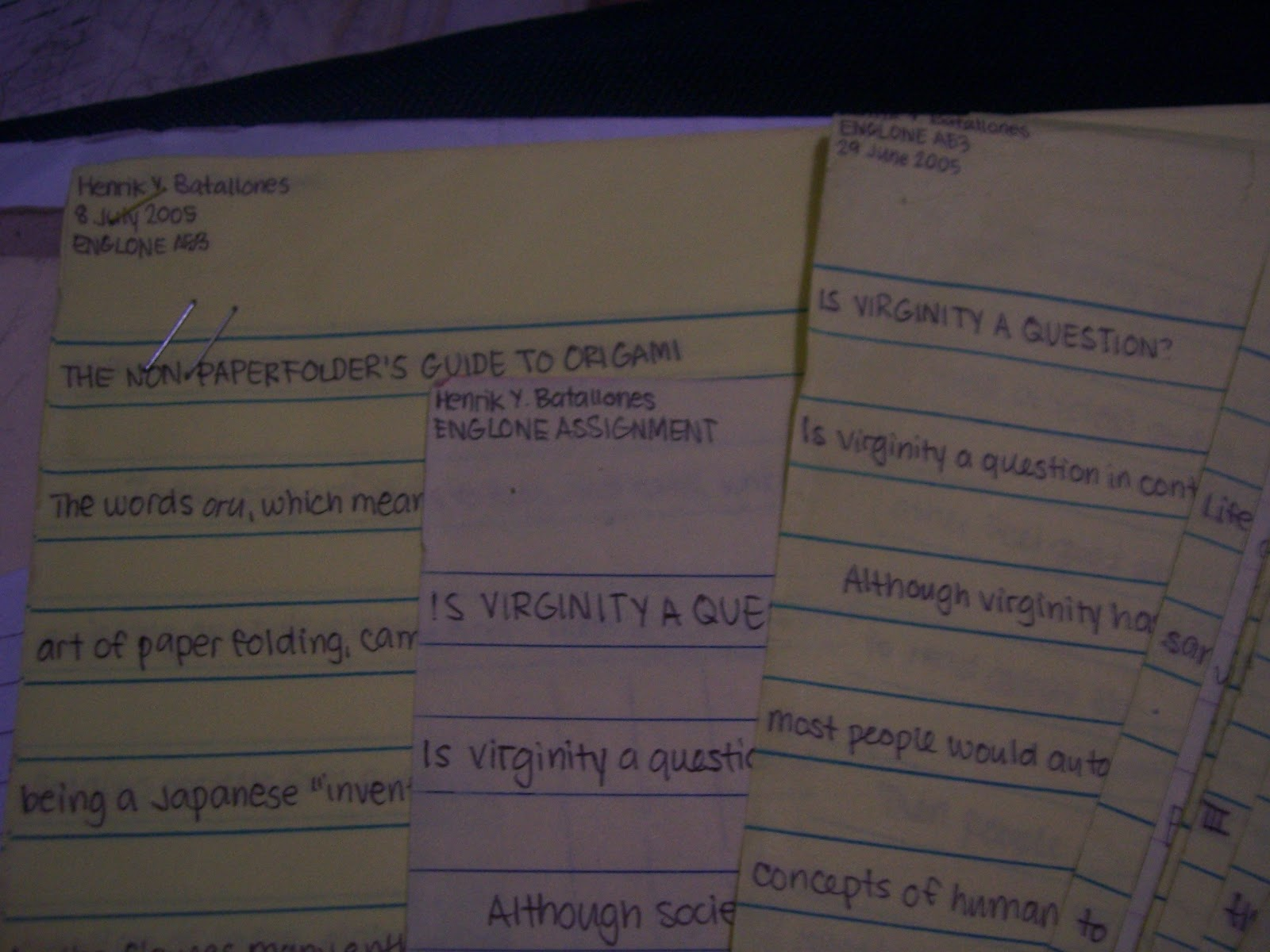 In the beginning, there was English class, and essays on random subjects such as origami and the bonobos. Oh, and as you can see, virginity. I haven't read that essay since, and I can't remember why I decided to write about it.