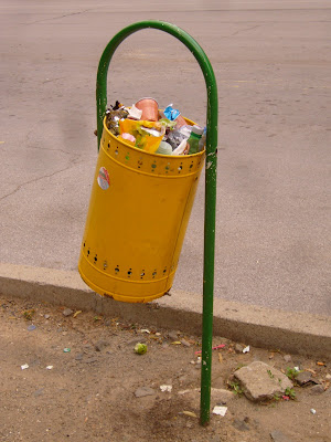 A Yambol Waste Bin Full To The Brim