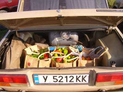 A Lada Boot Full Of Yambol Homegrown Vegetables