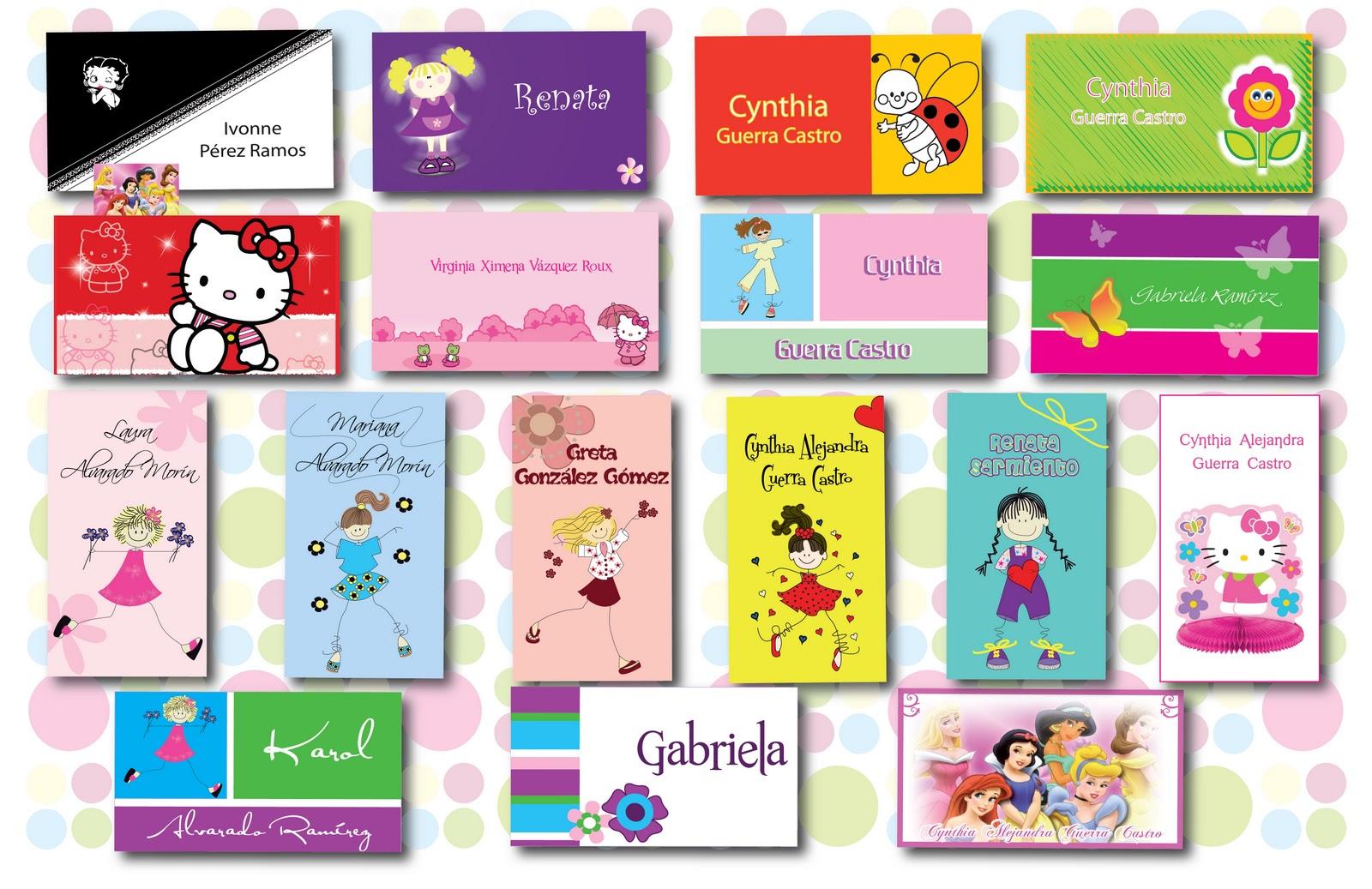 167a5a8e0c7a5 Tarjetas de presentación NIÑAS. Hacer tarjetas para ...