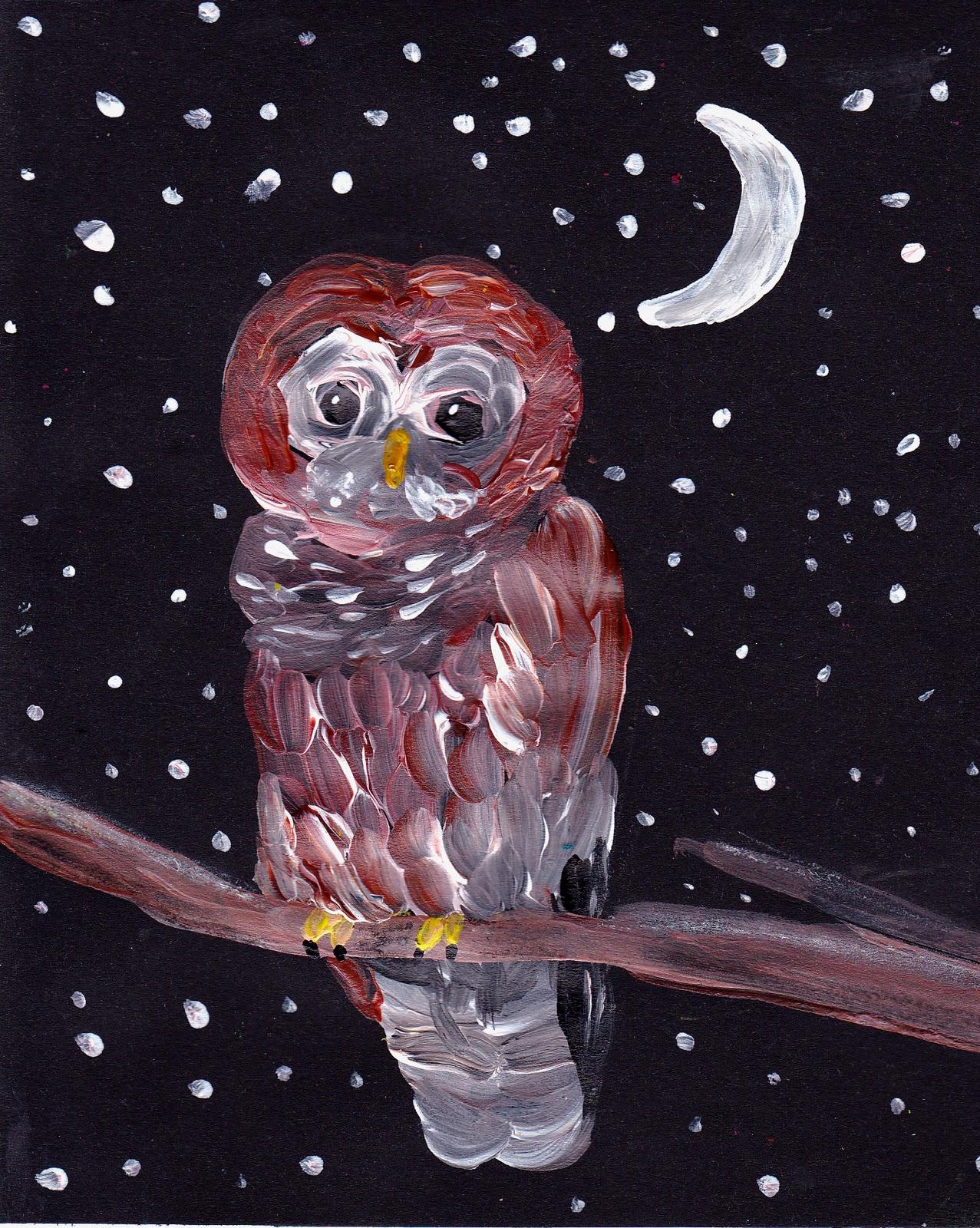 Simple Art Project Ideas: Owl PaintingSimple Owl Painting