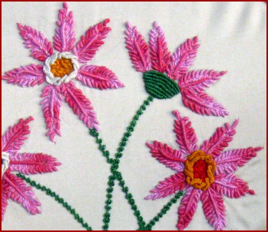 Vanis Blog 2 Dimensional Embroidery With Bullion Stitches