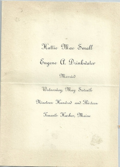 1913 Wedding Announcement of Hattie Mae Small & Eugene A. Drinkwater, Maine of Vassalboro, Maine, and Webster, Maine