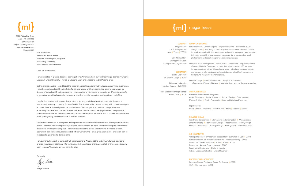 graphic design resume cover letter