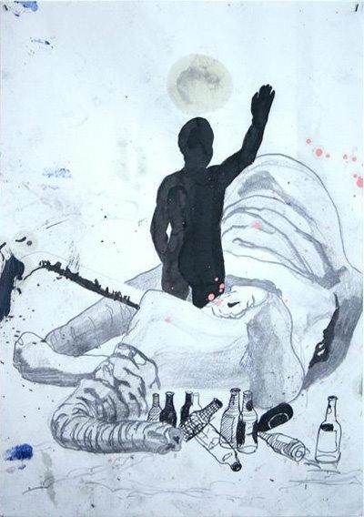 Stefan Kasper  Dronken Olifant, 2006  Ink, graphite, ballpoint on paper  19 x 21 cm
