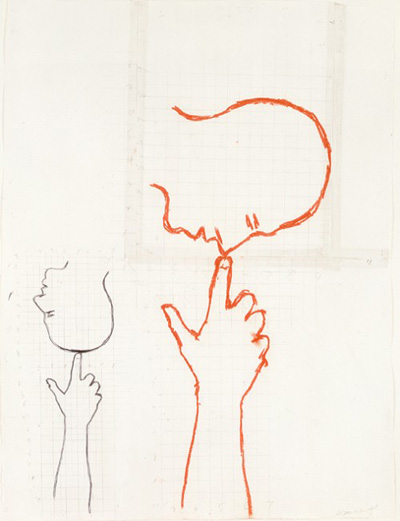 Bruce Nauman   Double Size Head and Hand, 1989 ink, pastel, pencil on transparent tape on paper 144.8 x 110.5 cm