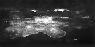 Tacita Dean The Sea, with a Ship, Afterwards an Island, 1999 chalk on blackboard 3 parts, 244 x 488 cm each
