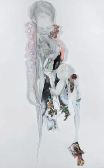 Elena Beelaerts  Offspring III, 2008 drawing and collage on paper 150 x 80 x 8 cm