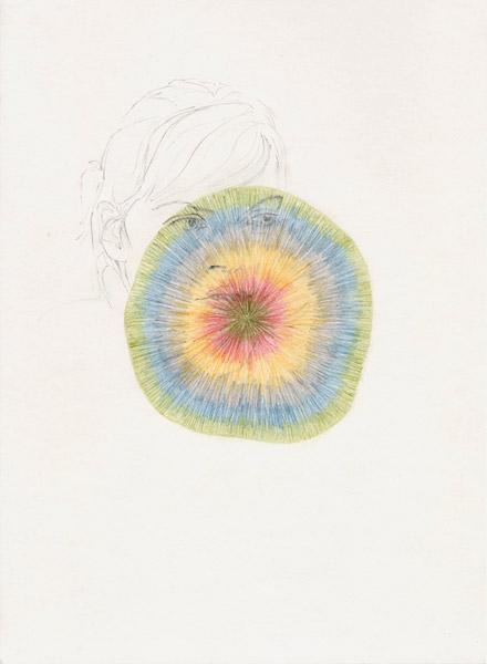 Isabel Nolan  Look left, 2005  pencil and colour pencil on paper  29.5 x 21 cm