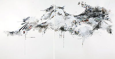 Reed Danzinger An intermediate order, an equation of motion, 2008 watercolor, gouache, graphite and silkscreen on paper diptych, 56.5 x 104 inches