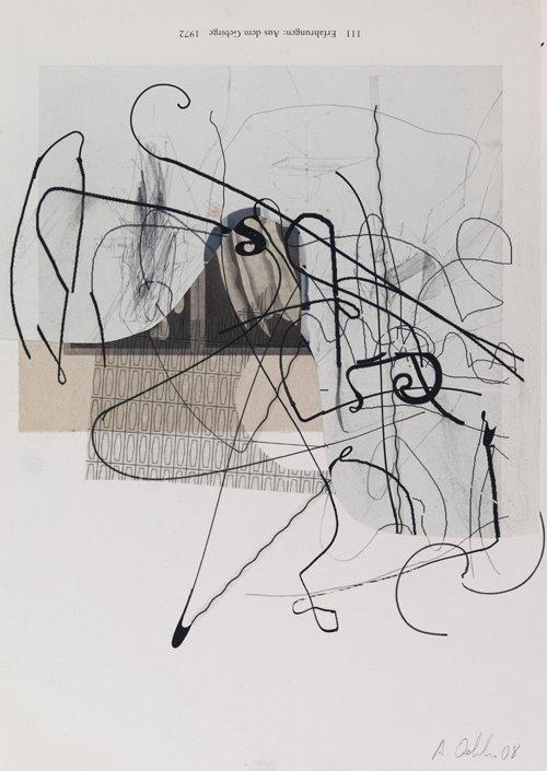 "Albert Oehlen Untitled, 2008 mixed media on paper 11.75"" x 8.25"""
