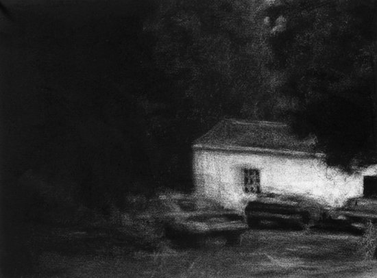 Renie Spoelstra parked cars, white house, 2009 28 x 38 cm charcoal on paper