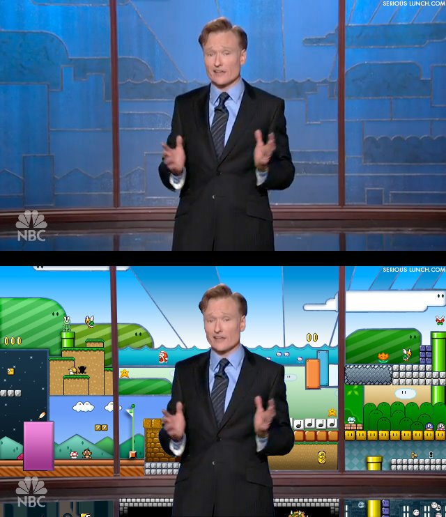 Did Conan O'Brien Steal his Tonight Show backdrop from...Mario?!