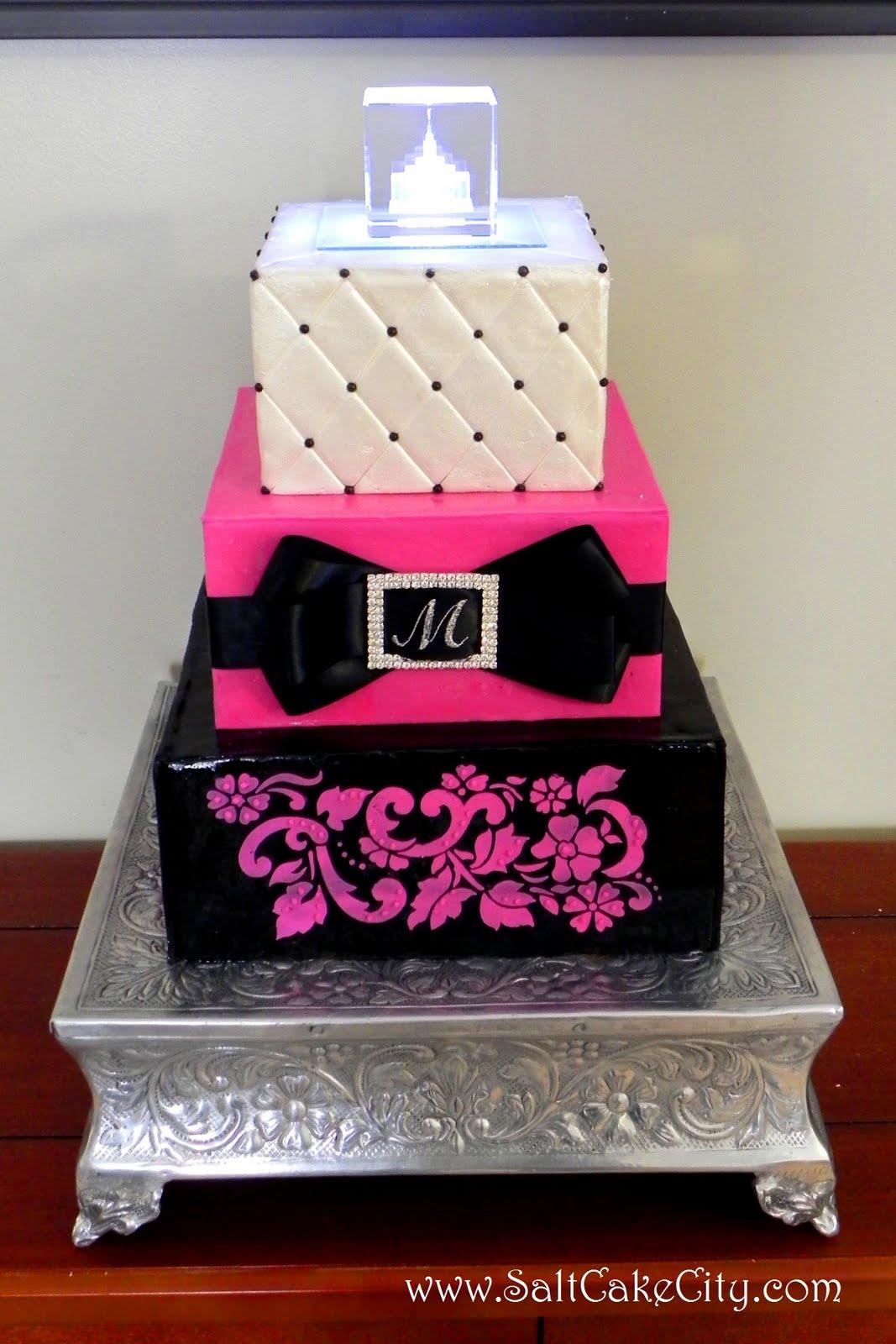 Fuchsia Black Wedding Cake