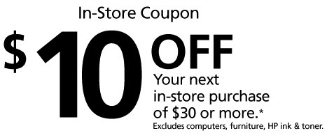 Day by Day Savings: Office Max $10 off $30 Coupon