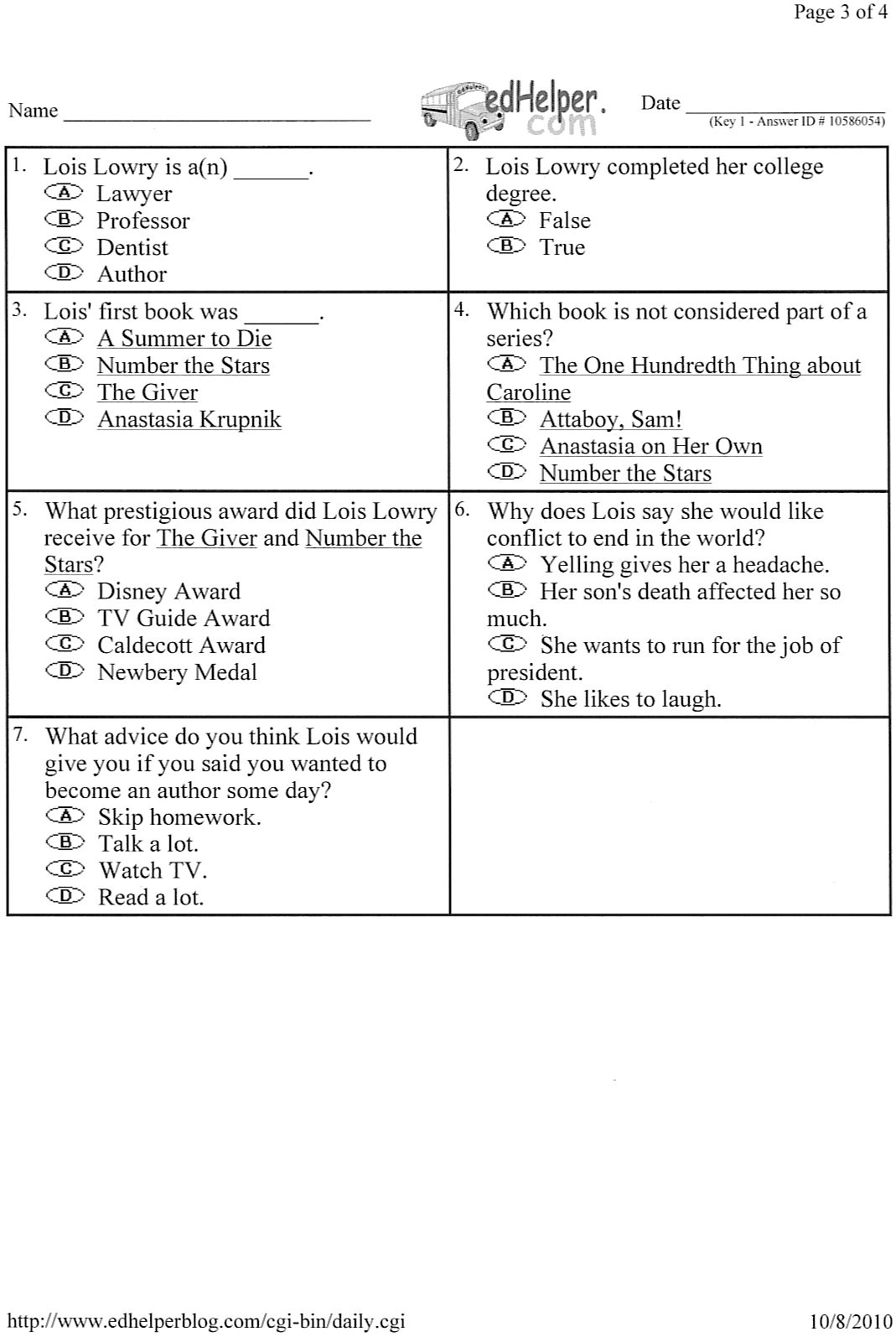 Mrs Hammerberg S Reading Class 4th Grade Homework Due 10 15